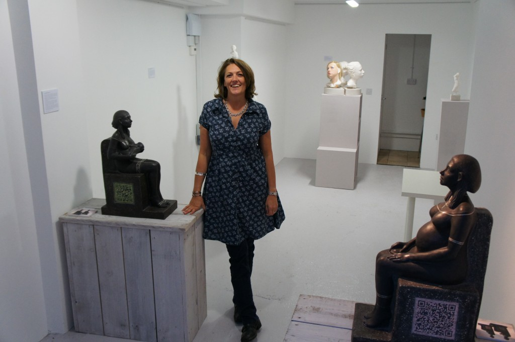 Billie Bond sculptor solo exhibition - Who Are We Anyway 2011, The Pie Factory, Margate showing her QR code black ceramic with silver inlay sculptures